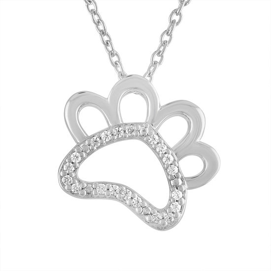 """Fur Mama"" Womens Diamond Accent Genuine White Diamond Sterling Silver Pendant Necklace"