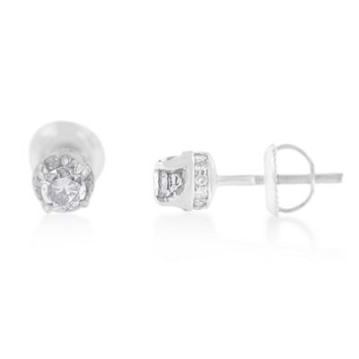 1/2 CT. T.W. White Diamond 14K White Gold 5mm Round Stud Earrings