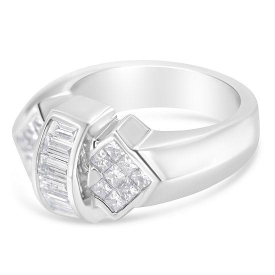 Womens 1 1 2 Ct Tw Genuine White Diamond 14k White Gold Cocktail Ring