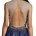 Glamour By Terani Couture Sleeveless Applique Embellished Party Dress-Juniors
