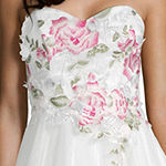 Social Code Sleeveless Embroidered Fitted Gown-Juniors