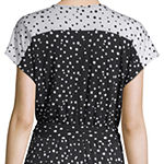 Spense Short Sleeve Dots Wrap Dress