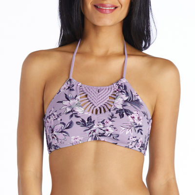 Ambrielle Floral High Neck Swimsuit Top