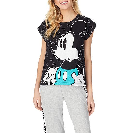 Disney Collection Womens-Juniors Slubbed Pajama Top Round Neck Mickey Mouse
