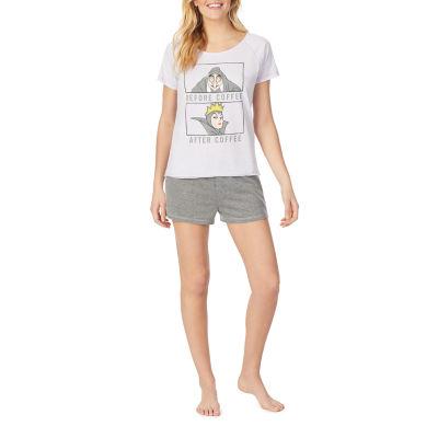 Disney Womens-Juniors Shorts Pajama Set 2-pc. Short Sleeve