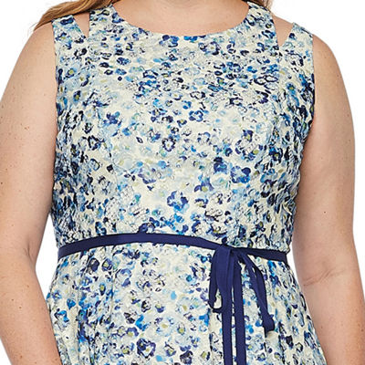 Danny & Nicole Sleeveless Floral Lace Fit & Flare Dress-Plus