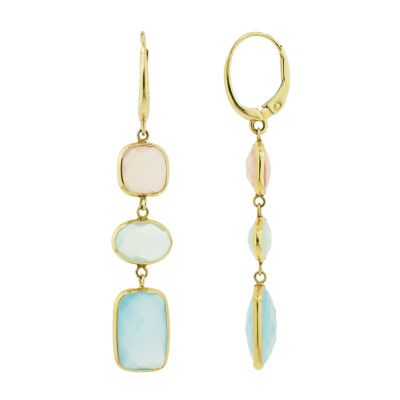 Genuine Yellow Chalcedony 14K Gold Drop Earrings