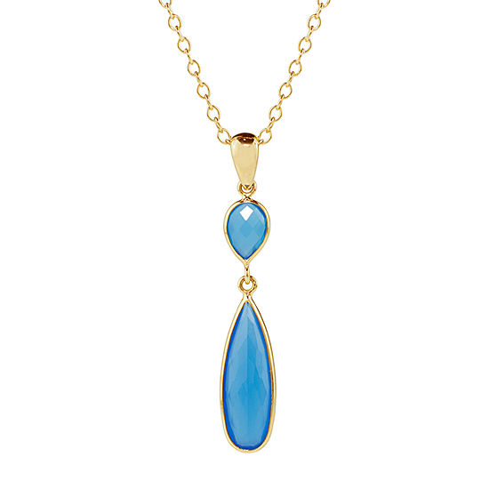 Womens Genuine Blue Agate 14K Gold Pendant Necklace
