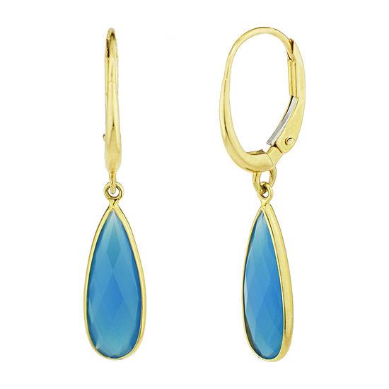 Genuine Blue Agate 14K Gold Drop Earrings