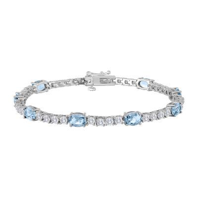 Simulated Blue Aquamarine 7.5 Inch Tennis Bracelet