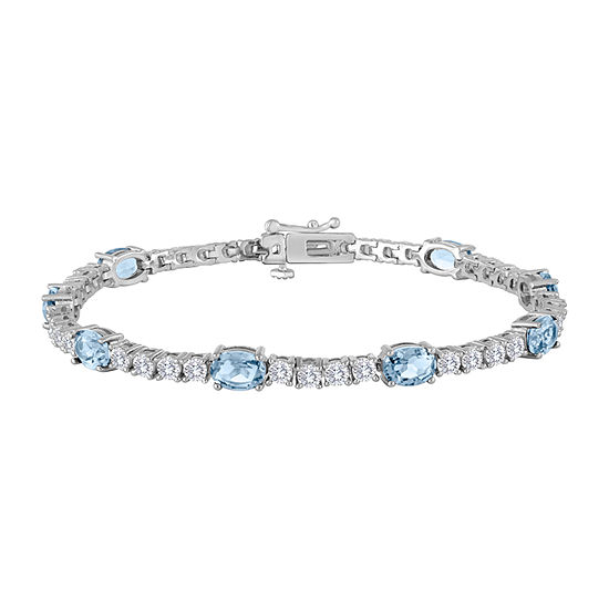 Simulated Blue Aquamarine Pure Silver Over Brass 7.5 Inch Tennis Bracelet
