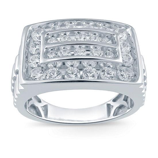 Mens 1 1/2 CT. T.W. Genuine White Diamond 10K White Gold Fashion Ring