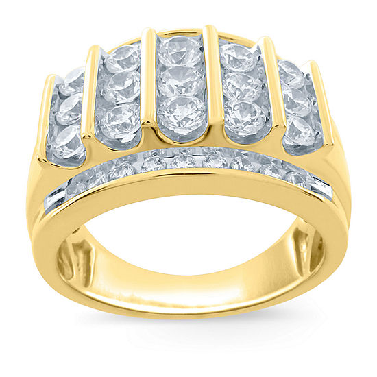 Mens 2 Ct Tw Genuine White Diamond 10k Gold Fashion Ring
