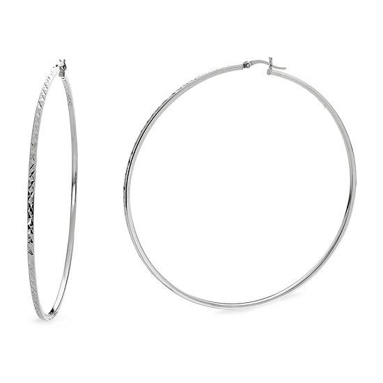 Sterling Silver 80mm Hoop Earrings