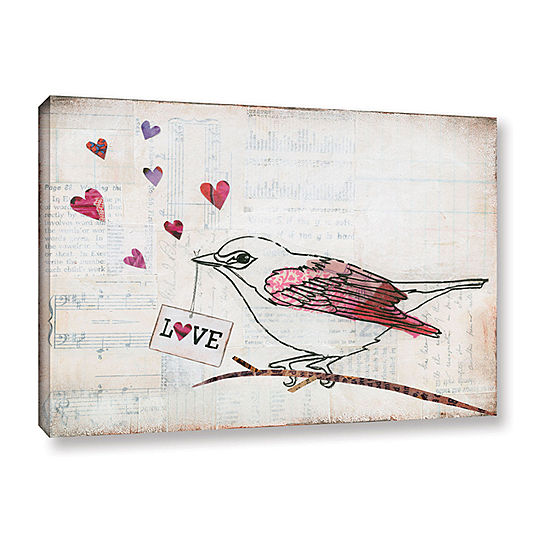 Brushstone Love Birds Ii Love Gallery Wrapped Canvas Wall Art Jcpenney Color Gray