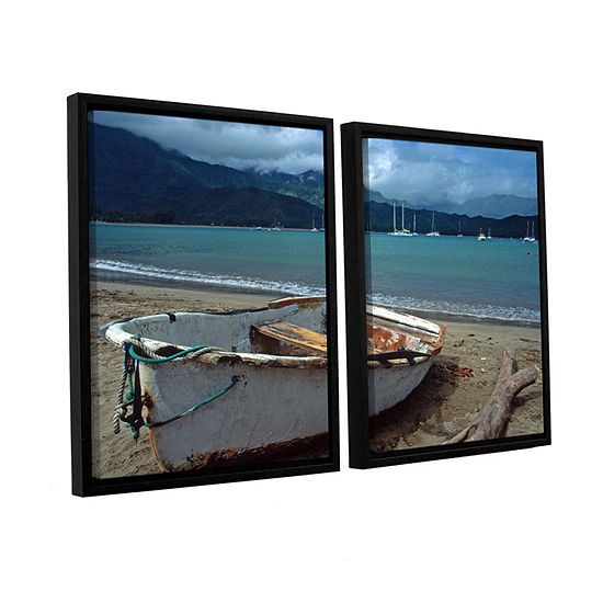 Brushstone Waiting To Row In Hanalei Bay 2-pc. Floater Framed Canvas Wall Art