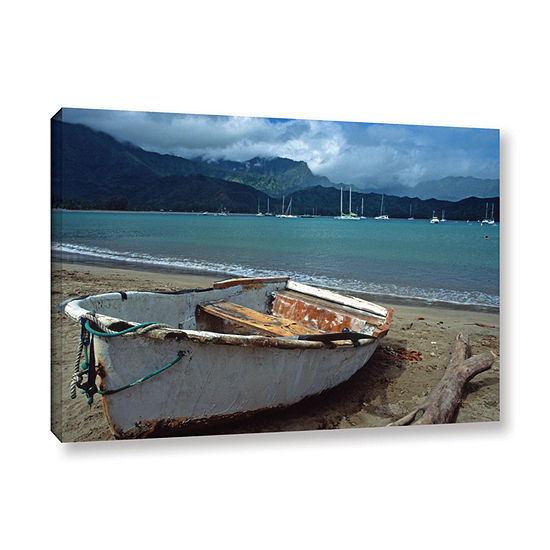 Brushstone Waiting To Row In Hanalei Bay Gallery Wrapped Canvas Wall Art