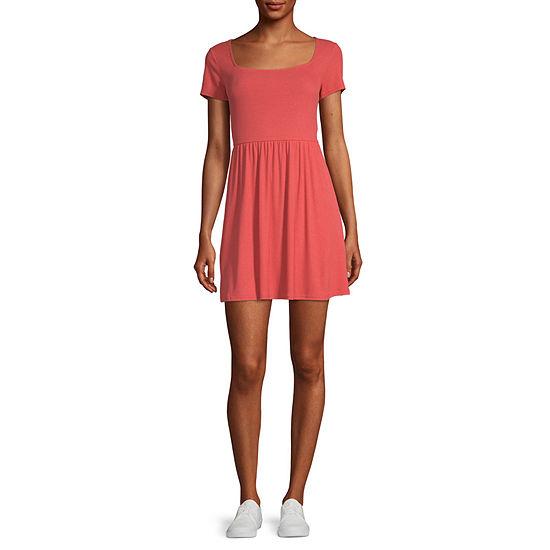 Arizona Short Sleeve Babydoll Dress-Juniors