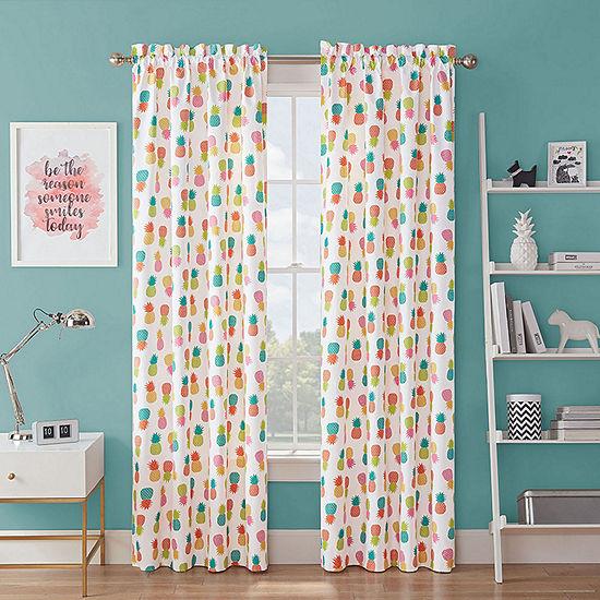 Waverly Fineapple Light-Filtering Rod-Pocket Single Curtain Panel