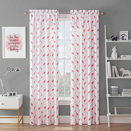 Waverly Flamingo Flock Light-Filtering Rod-Pocket Single Curtain Panel