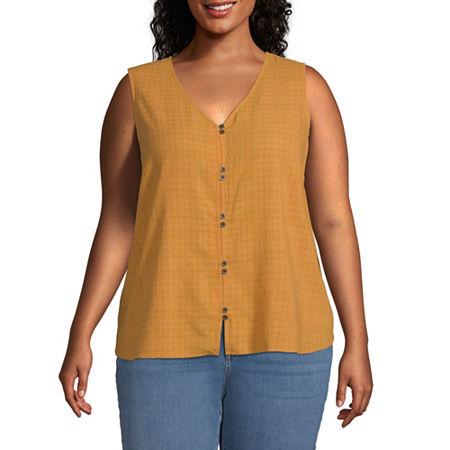 a.n.a Plus Womens V Neck Sleeveless Tank Top, 5x , Yellow