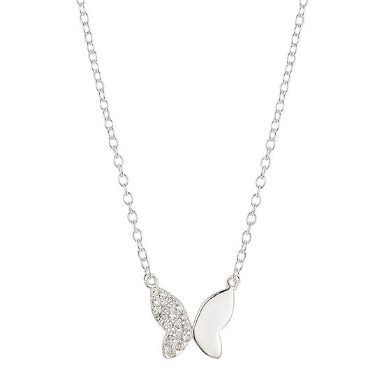 Silver Treasures Cubic Zirconia Sterling Silver 16 Inch Link Butterfly Pendant Necklace