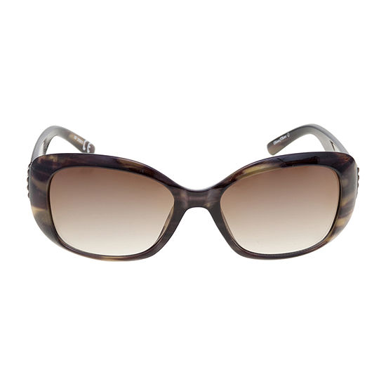 Mixit Medium Plstic Rectangle With Leaf Detail Womens Sunglasses