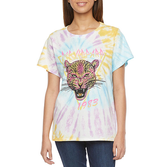 Cut And Paste Juniors Womens Round Neck Short Sleeve Graphic T-Shirt