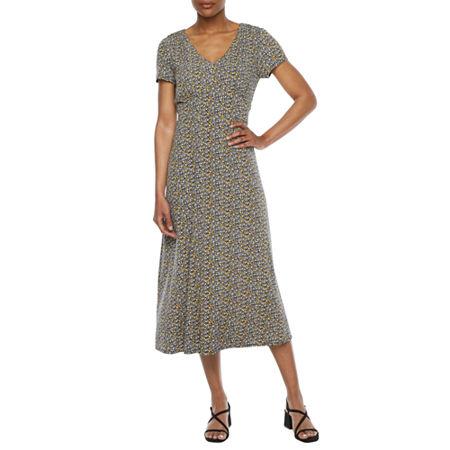 1930s Dresses | 30s Art Deco Dress Perceptions Short Sleeve Floral Midi Fit  Flare Dress Medium  Blue $31.99 AT vintagedancer.com