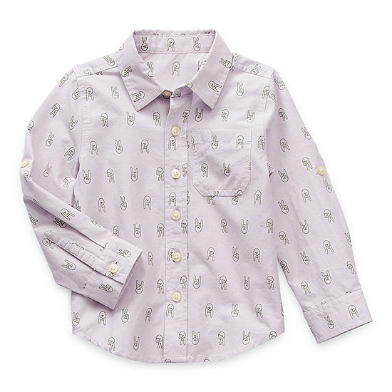 Thereabouts Toddler Boys Long Sleeve Button-Down Shirt