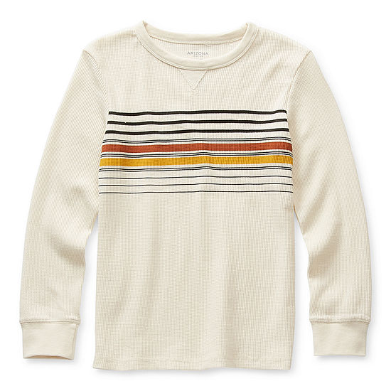 Arizona Little & Big Boys Crew Neck Long Sleeve Thermal Top
