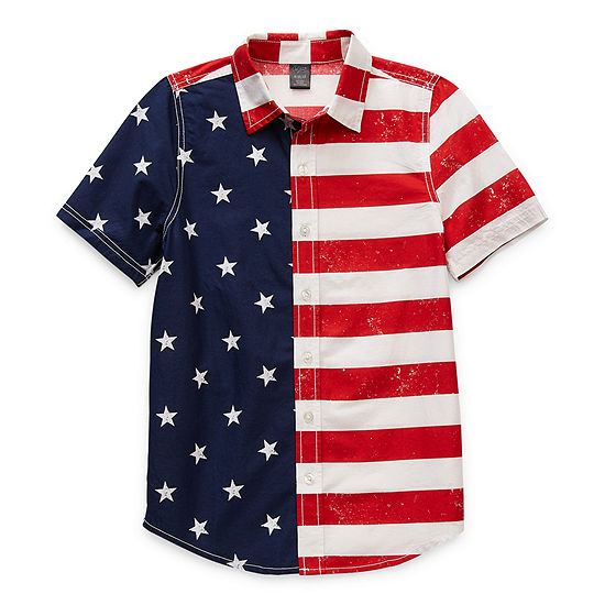 City Streets Americana Little & Big Boys Short Sleeve Button-Down Shirt