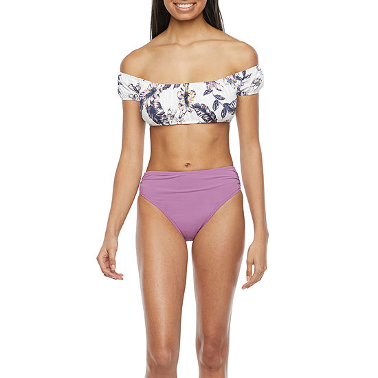 Mynah Off the Shoulder Shirred Bandeau and High Waist High Leg Bottom