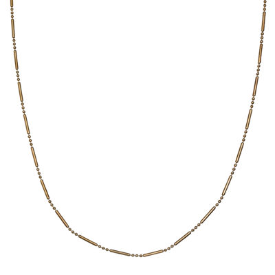 Silver Reflections™ Gold Over Sterling Silver Bar & Bead Chain Necklace