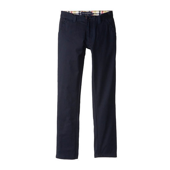 U.S 12 Big Boys Flat Front Stretch Twill Pants Polo Assn Navy