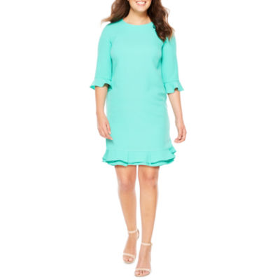 R & K Originals Elbow Sleeve Shift Dress