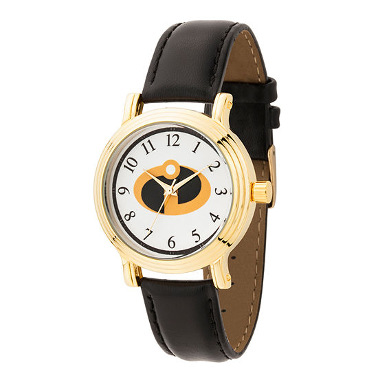 Disney Collection The Incredibles 2 Womens Black Leather Strap Watch-Wds000583