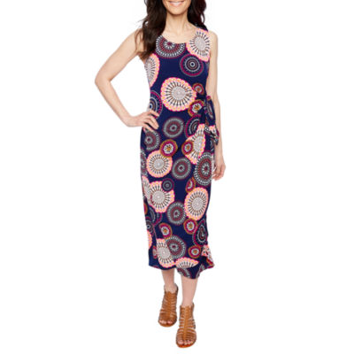 Robbie Bee Sleeveless Circles Maxi Dress-Petite
