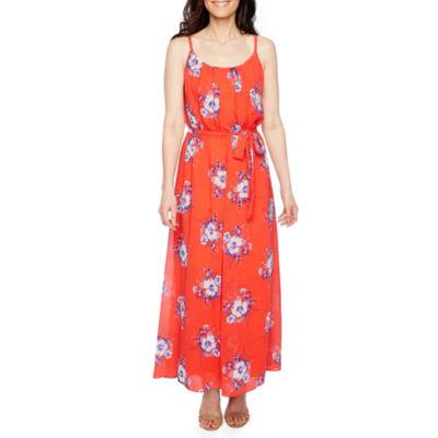Robbie Bee Sleeveless Floral Maxi Dress-Petite