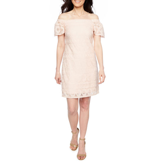 Robbie Bee Short Sleeve Circles A-Line Lace Dress-Petite