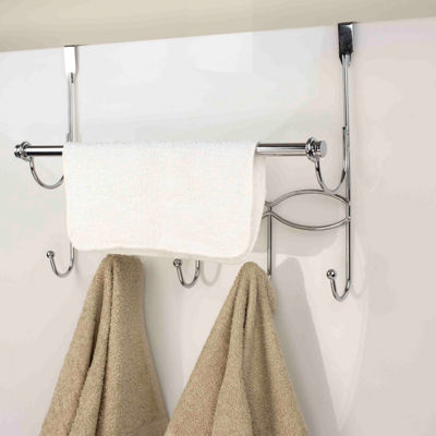 Home Basics Chrome Plated Steel Over the Door with Towel Bar