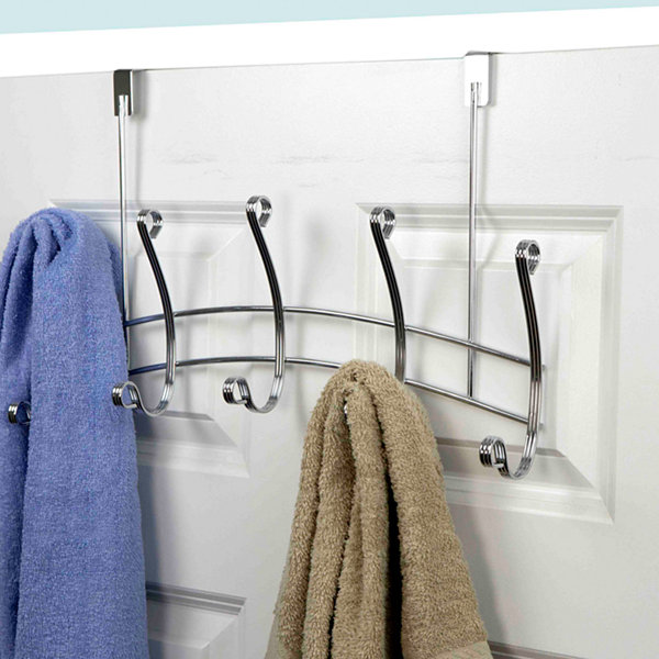 Home Basics Arch Chrome 5 Hook Over the Door Hanging Rack