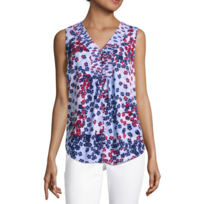 Liz Claiborne Sleeveless Smocked Front Blouse