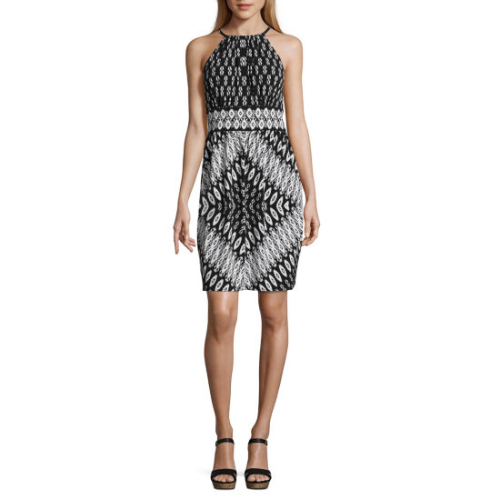 London Times Sleeveless Diamond A-Line Dress-Petite