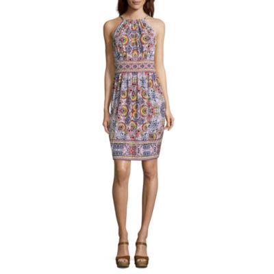 London Times Sleeveless Diamond A-Line Dress-Petite