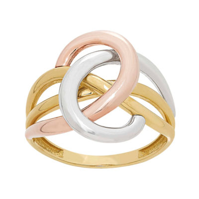 Womens 14K Tri-Color Gold Cocktail Ring