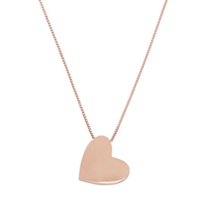 Womens 14K Rose Gold Heart Pendant Necklace