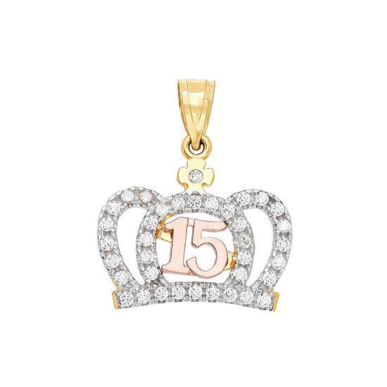 Womens White Cubic Zirconia 14K Gold Pendant