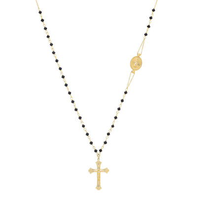 Womens Black Crystal 14K Gold Rosary Necklaces