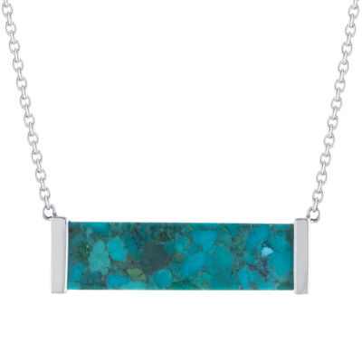 Womens Enhanced Turquoise Sterling Silver Pendant Necklace